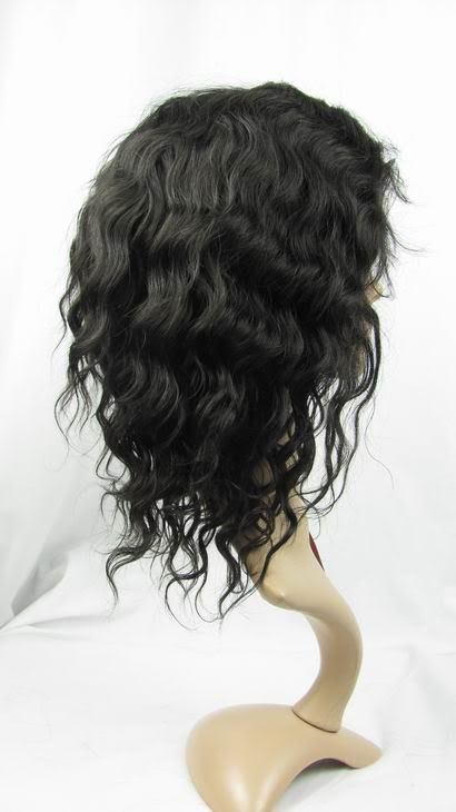 "10"" 1b# india remy human hair deep wave full lace wig"