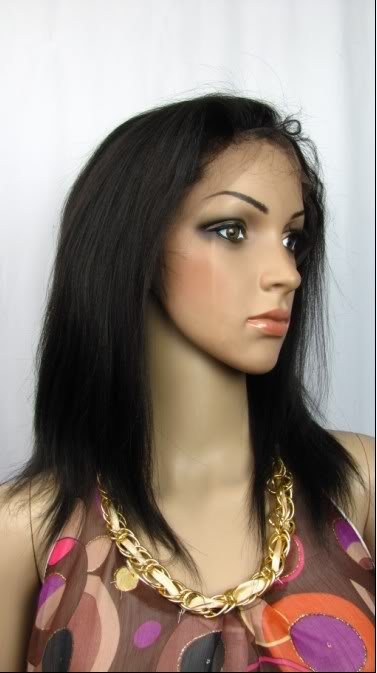 "10"" remy human hair front lace wig 1# silk straight"
