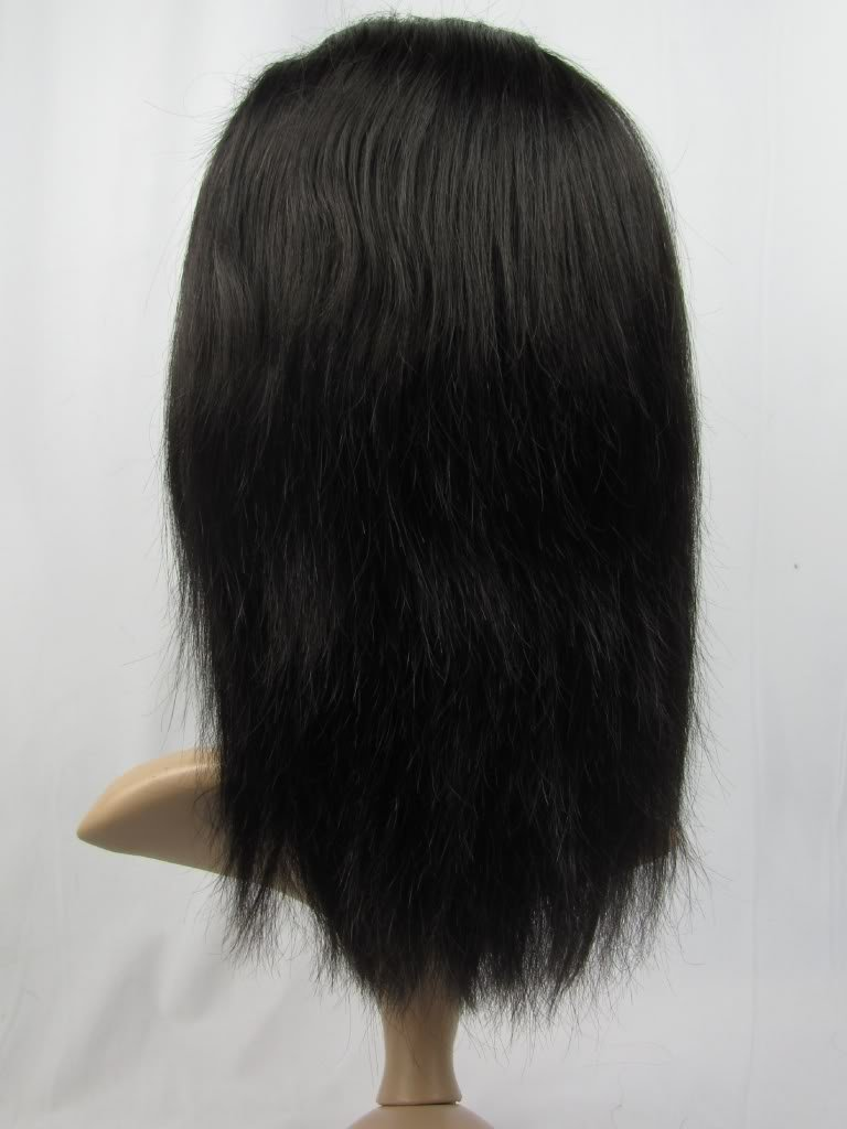 """indian remy human hair 14"""" 1b# silky front lace wig"""