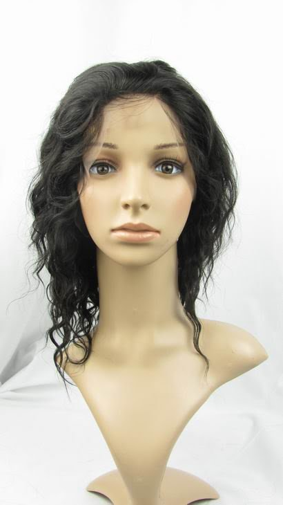 indian remy human hair 10'' 1b# deep wave full lace wig