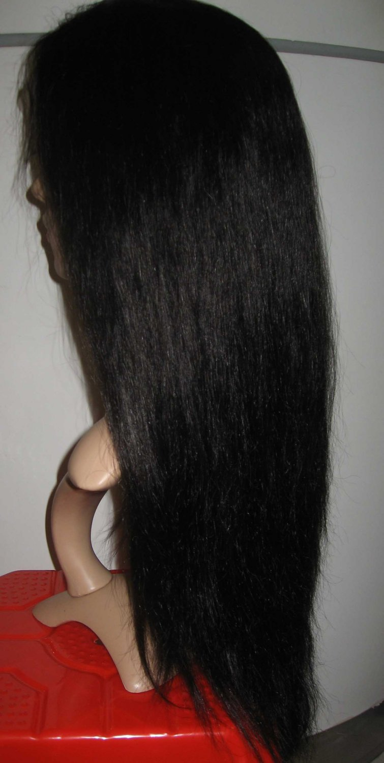 22 inches Indian remy silky straight black lace front wig 100% HUMAN HAIR