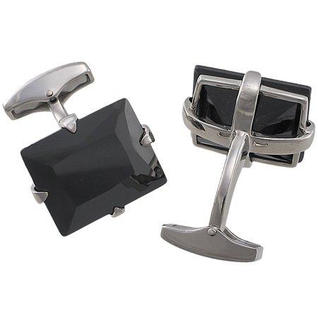 Tateossian Silver Black CZ Cufflinks BTS9617