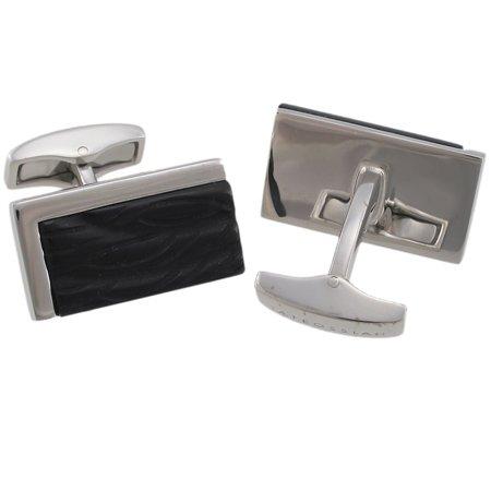 Tateossian Silver Black Carved Onyx Cufflinks BTS0555