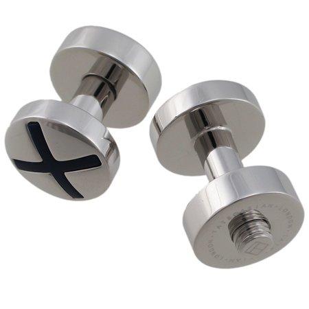 Tateossian Silver Round Bolt Cufflinks - BTS9662