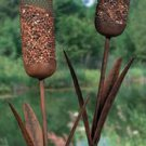 Cattail Bird Feeder Yard Stakes