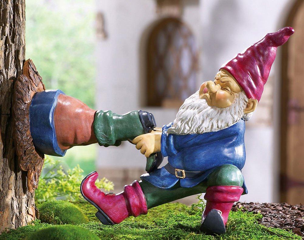 Gnome In Garden: Gnome Stuck In Tree Tree Decor