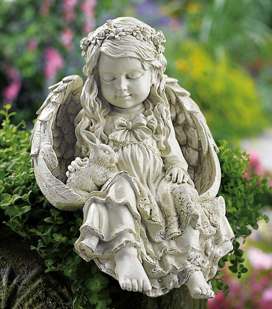 Angel bunny rabbit garden statue - Angel statue for garden ...