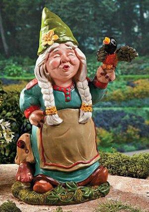Girl Woman Gnome Garden Yard Decor