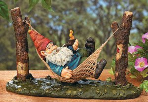 Gnome on Hammock Garden Yard Decor