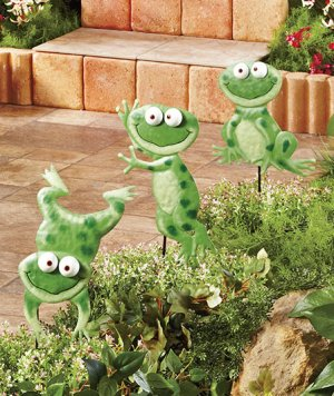 Metal Frog Garden Stakes Set of 3