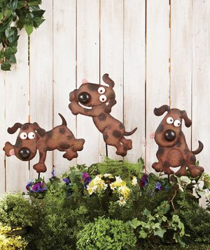 Metal Dog Garden Stakes Set of 3