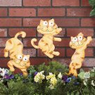 Metal Cat Garden Stakes Set of 3