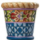 "Jim Shore 7 1/2"" Quilted Planter Pot"