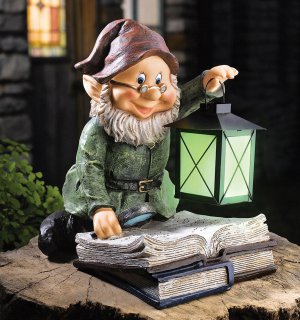Glowing Lantern Storybook Gnome Yard Garden Decor