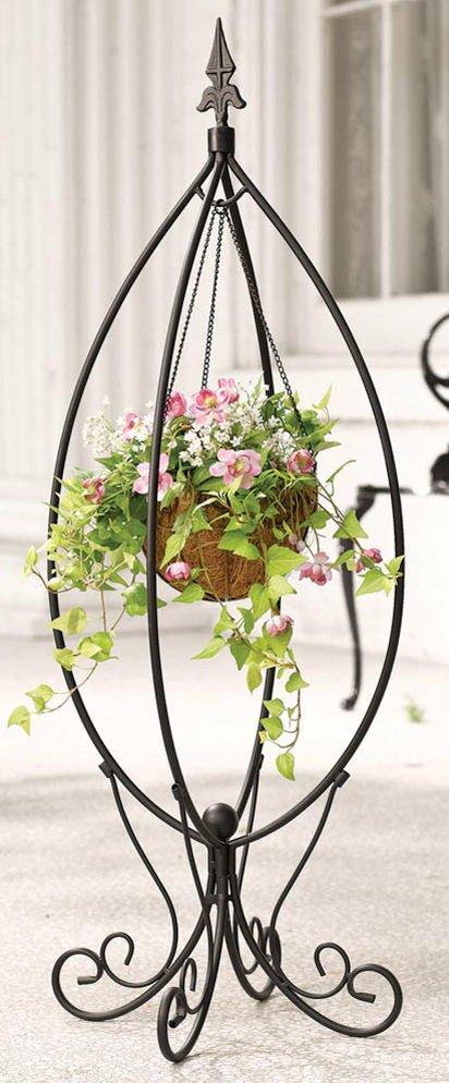 Fleur De Lis Hanging Basket Plant Stand