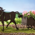 Horse And Buggy W/ Planter Shadow Silhouette Stake