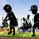 Gardening Kids Boy & Girl Shadow Silhouette Stakes
