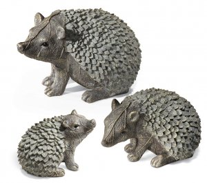 Gray Hedgehog Family Garden Yard Decor