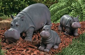 Hippo Family Garden Yard Decor