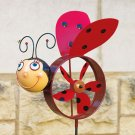 Ladybug Windmill Spinner Garden Stake