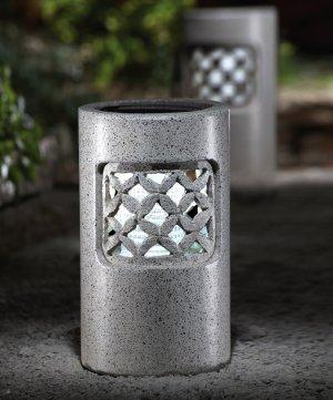 Granite Look Outdoor Accent Solar Pillar Light