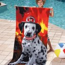 Dalmatian Fire Dog Beach Towel