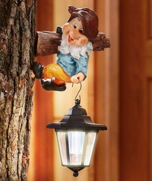 Gnome with Red Hat Tree Hanger With Solar Lantern