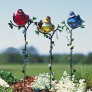 Bird Gazing Balls Garden Stake Set