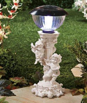 Solar Cherub Light Pedestal
