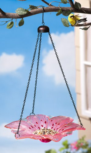 Pink Glass Lily Flower Bird Bath