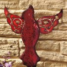 Red Glass Garden Bird Wall Hanging