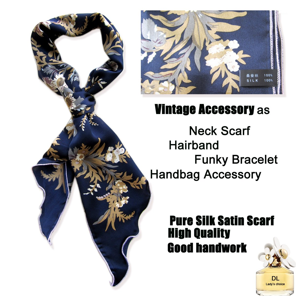 Gorgeous Floral Satin Silk Scarf, Head Scarves, Neck Scarves