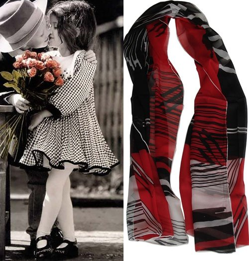 Beautiful Black&Red Stripe Ladies Long Pure Silk Scarf