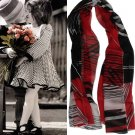Beautiful Black&Red Stripe Ladies Long Pure Silk Scarf