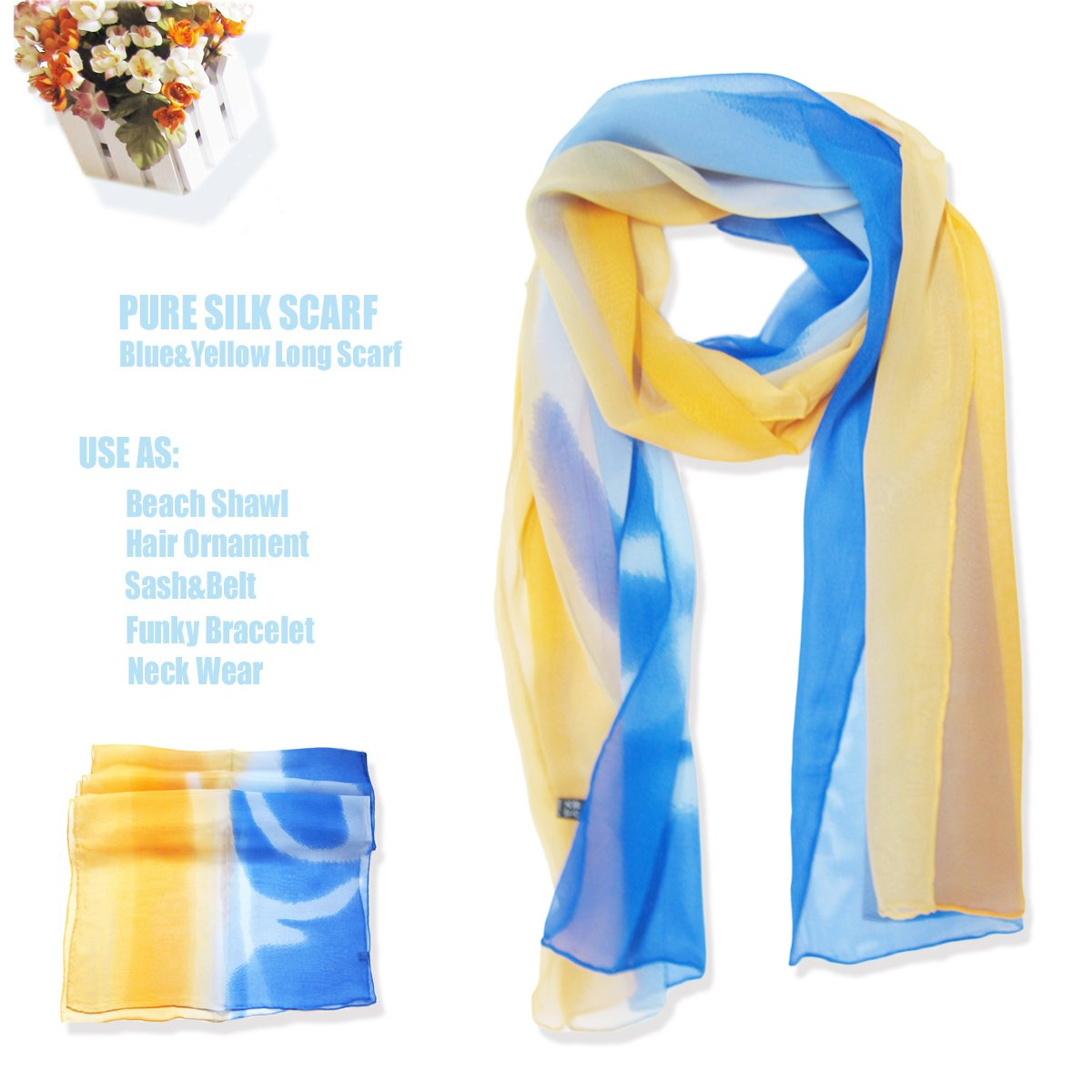 Sexy Yellow Dark/Light Blue Three-tone Long Silk Scarf