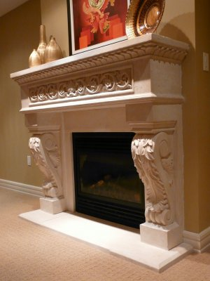 """62"""" Chateau Series King Henry Stone Fireplace Mantel Mantle"""