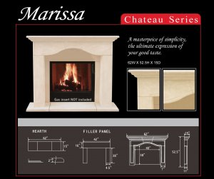 "62"" Chateau Series Marissa Stone Fireplace Mantel Mantle"