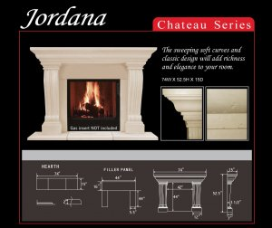 "74"" Chateau Series Jordana Stone Fireplace Mantel Mantle"