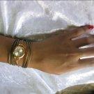 Handmade Alfresco Style Leather Wrap Bracelet Watch with a lovely pattern WORLDWIDE FREE SHIPPING