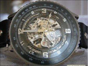 Handmade Skeleton Leather Wrap Bracelet Watch with a lovely pattern WORLDWIDE FREE SHIPPING