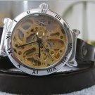 Skeleton Watch Leather Wrap Watch Steampunk Mechanical Bracelet leather Watch FREE SHIP
