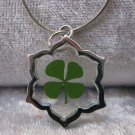 Four Leaf Clover necklace Handmade Saint Patrick Irish shamrock 4 Four Leaf Lucky Clover