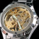 Steampunk skeleton Mechanical Watch Genuine leather Watch with a full skeleton pattern Free Ship