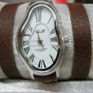 Wave Wavy Time Warp Leather Wrap Dali Fluid Watch