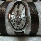 Men Women Bracelet Leather Wrap Wrist Cuff Watch Skeleton Mechanical Army watch