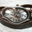 Men Women Bracelet Leather Wrap Wrist Cuff Watch Skeleton Mechanical Army watch