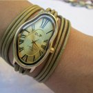 Leather Watch-Women wrist watch-Bracelet wrap Watch Wrap Dali Fluid Watch