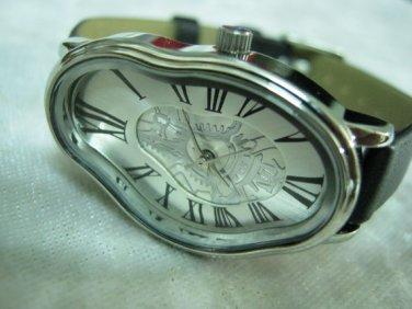 Elegant Wave Wavy Time Warp Silver Wrap Dali Fluid Watch - Wrist Watch - Leather Watches