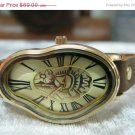 Leather Watch,Women wrist watch,Multi thin wraps tan Watch Roman Numbers Design Salvador Dali Watch