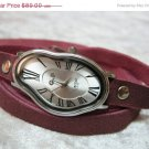 Silver leather Watch Dali Fluid Leather Wrap Watch Leather Accessories - Wrist Watch